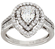 Diamonique Pear Shape Double Halo Ring, Platinum Clad - J323251