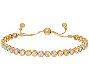 Diamonique Adjustable Bracelet, Sterling or 14K Clad - J326551