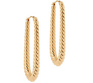Oro Nuovo Elongated Graduated Ribbed Hoop Earrings 14K - J328251