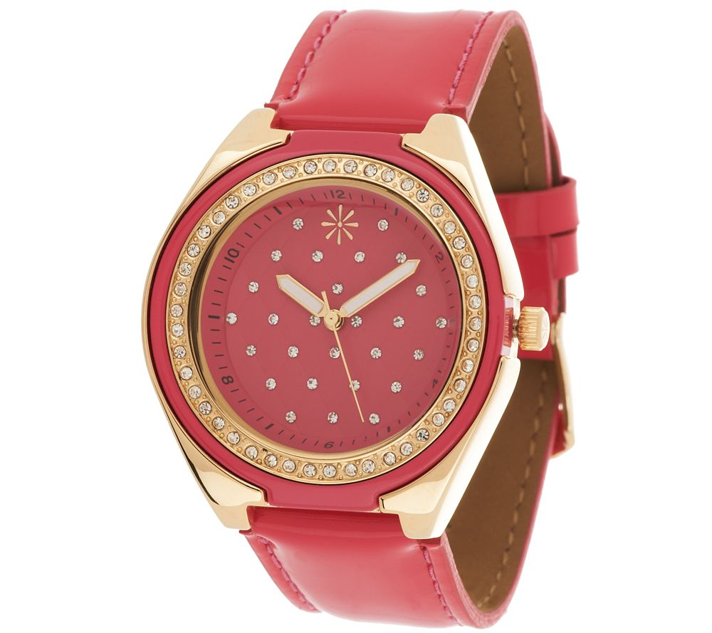 """As Is"" Isaac Mizrahi Live! Strap Watch with Quilted ..."