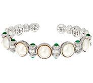 Judith Ripka Sterling Emerald & Cultured Pearl Cuff Bracelet - J329951