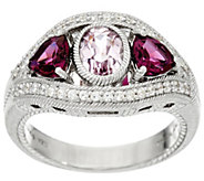 Judith Ripka Sterling Silver Kunzite & Rhodolite 3.00 cttw Ring - J331151