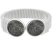 As Is Judith Ripka Sterling Verona Coin Tubogas Cuff Bracelet - J332451