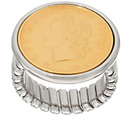 As Is Vicenza Silver Sterling 200 Lire Coin Tubogas Ring - J333551