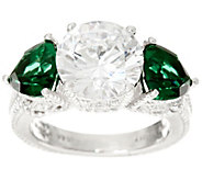 Judith Ripka Sterling Diamonique & Simulated Green Quartz Ring - J334151