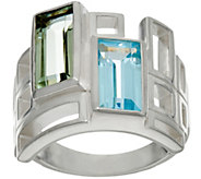 Solvar Sterling Silver and Multi- Gemstone Geometric Ring - J334251