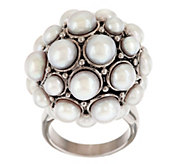 As Is Honora Cultured FreshwaterPearl Stainless Steel Cluster Ring - J334351