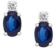 Premier 1.50cttw Oval Sapphire & 1/8cttw Diamond Earring, 14K - J337151