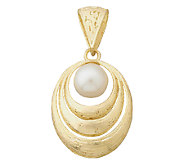 EternaGold Textured Oval Freshwater Pearl Pendant, 14K Gold - J337451