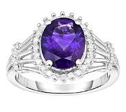 2.00cttw Amethyst & Diamond Halo Ring, Sterling - J338651