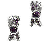 Judith Ripka Sterling Amethyst & Diamonique J-Hoop Earrings - J340551