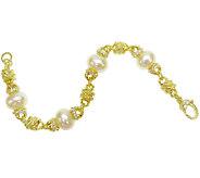 Judith Ripka Sterling/14K Clad Pearl Station 7- 3/4 Bracelet - J340651