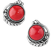 American West Sterling Red Coral Leaf ButtonEarrings - J341151