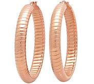 Stainless Steel Ribbed Hoop Earrings - J342151