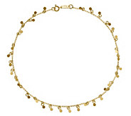 14K Gold Circles Dangle 10 Anklet - J343651