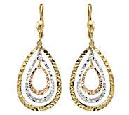 14K Gold Tri-color Nested Teardrop Dangle Earrings - J344851