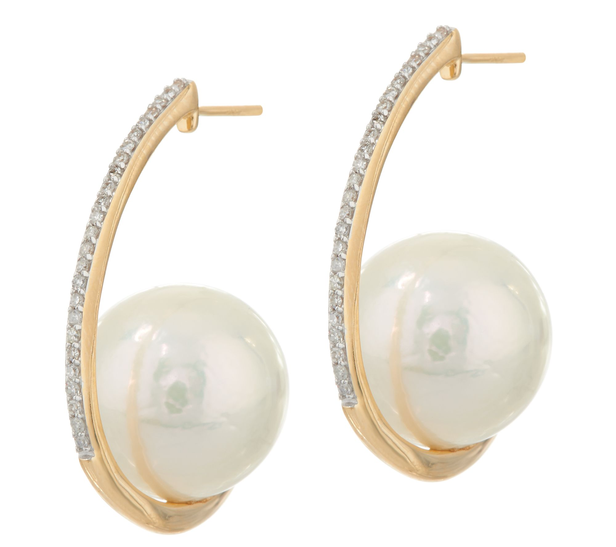 Honora Ming Cultured Pearl & Diamond Hoop Earrings, 14k  J347651