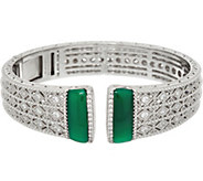 Judith Ripka Sterling Silver or 14K Clad Estate Gemstone Cuff Bracelet - J348051