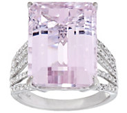 Emerald Cut Kunzite & Diamond Ring 14K Gold 12.80 ct - J348151