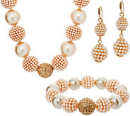 Carolee Park Avenue Simulated Pearl & Crystal Necklace Set - J351051