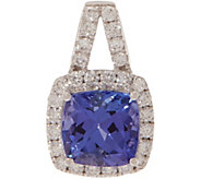 Cushion Cut Tanzanite and Diamond Pendant, 14K 1.40 cttw - J353751