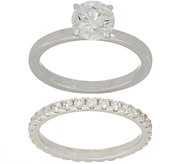 Diamonique Round Bridal Ring Set, Sterling Silver or 14K Clad - J354751