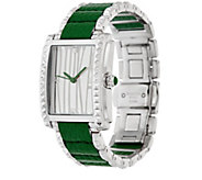As Is Judith Ripka Leather Inset Vogue Watch - J355851