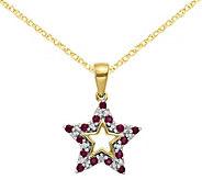 14K Ruby & Diamond Star Pendant with 18 Chain - J375051