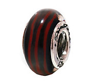 Prerogatives Sterling Silver Black and Red Glass Bead - J109352