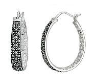 Suspicion Sterling Marcasite and Crystal Hoop Earrings - J112452