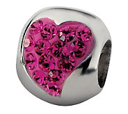 Prerogatives Sterling Fuchsia Crystal Small Heart Bead - J113252