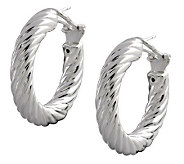 UltraFine Silver 1-1/4 Polished Twisted RoundHoop Earrings - J113952