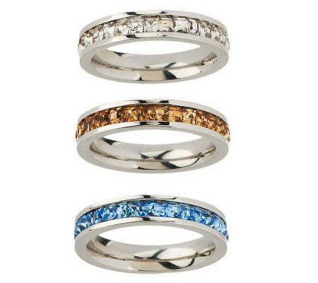 stainless steel set of 3 princess cut stack rings