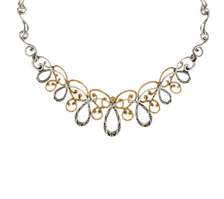 Carolyn pollack sterling brass swirl statement necklace for Carolyn pollack jewelry qvc