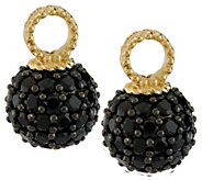 Judith Ripka Sterling & 14K Clad Black Spinel Set of 2 Hoop Charms - J287752