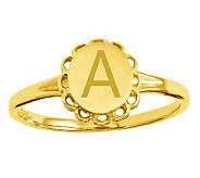 Personalized Satin Flower Design Signet Ring, 14K Gold - J310952