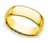 Sterling 7MM Unisex Milgrain Silk Fit Band R ing, 14K Clad - J312252