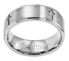 Stainless Steel 8mm Brushed Cross Engravable Ring