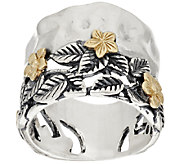 Sterling Silver & 14K Gold Leaf & Flower Band Ring by Or Paz - J317752