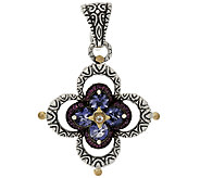 Barbara Bixby Sterling & 18K Iolite & Pink Garnet Double Flower Enhancer - J320152