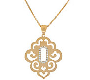 Bronze Scroll Cut-Out Crystal Pendant w/18 Chain by Bronzo Italia - J321952