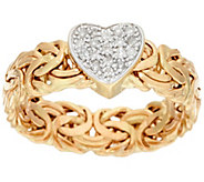 14K Gold Diamond Heart Byzantine Design Ring - J322052