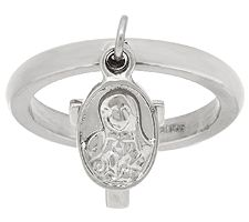 Stainless Steel Cross & Hail Mary Charm Ring