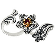 Carolyn Pollack Sterling Brass Desert Rose Double Finger Garnet Ring - J324552
