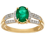 As Is 1.00 ct Columbian Emerald & 1/4 ct Diamond Ring, 14K Gold - J328152
