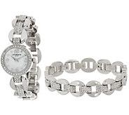 As Is Liz Claiborne New York Watch & Bracelet Set - J329752