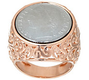 As Is Bronzo Italia 100 Lire Coin Scroll Design Ring - J329852