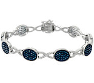 Blue Diamond 6-3/4 Station Bracelet, Sterling, 1.25 cttw, Affinity - J330552