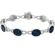 Blue Diamond 6-3/4 Station Bracelet, Sterling, 1.25 cttw, Affinity - J330552