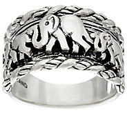JAI Sterling Elephants & Sukhothai Texture Ring - J331252